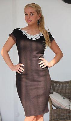 """Купить Платье """"Американо"""" - коричневый, платье с кружевом, коричневое платье, шоколадный цвет, кружево"""