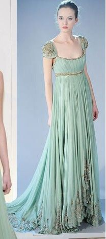 gathered chiffon empire dress w/ embroidered cap sleeve & hem details & small train