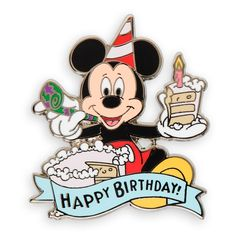 Wish your favorite Mouseketeer a ''Happy Birthday'' with Mickey's colorful cloisonne pin, delightfully displayed in a special gift box with ribbon and bow. Happy Birthday Mickey Mouse, Disney Birthday, Mickey Minnie Mouse, Birthday Pins, Birthday Quotes, Birthday Wishes, Pet Raven, Birthday Painting, Happy Birthday Beautiful