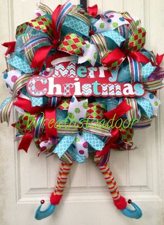 Merry Christmas custom made by Wreaths to Adoor!  Find us on Facebook!