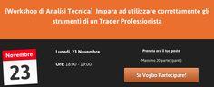 Ti aspetto al Workshop di lunedì 23 Novembre!