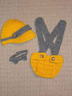 Baby Boy Diaper Cover Hat Bow Tie Set Size 06 Months by sewcroco, $25.95