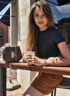 Kristina Bazan likes her Chloé Drew Saddle bag to match her coffee.
