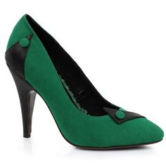 Green & Black Microsuede Spencer Button Pumps