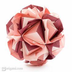 DIY project: modular origami ball - Clover Kasudama (Maria Sinayskaya) squares, 30 units, no glue