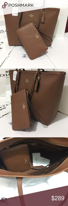 Coach set saddle Bag New with tag 100% Authantic Tote with wristlet Coach Bags Shoulder Bags
