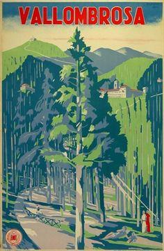 Vintage Travel Poster - Vallombrosa - Switzerland - by G. Piombanti - c.1930.