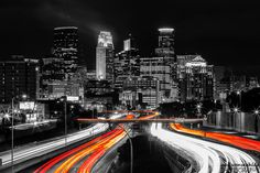 https://flic.kr/p/RuRwQ3 | Minneapolis Black and White (Mostly) | Another photo of Minneapolis from the 24th Street Pedestrian Bridge with a little work done in PS Elements.
