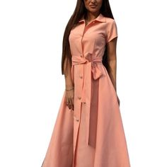 Plus Size Fashion design Women Long Dress Silm Solid Short Sleeve Dress With The Belt Shirt Dress
