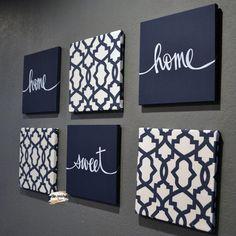 Navy blue living room wall art set home sweet home dining etsy. Navy Blue And Grey Living Room, Blue Living Room Decor, Dining Room Wall Decor, Home Living Room, Navy Blue Wall Art, Kitchen Living, Navy Blue Decor, Grey Art, Blue Art