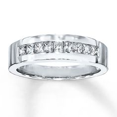 Mens Diamond Band 5 8 ct tw Square Cut 10K White Gold   KayThis classy channel set band features alternating round and  . Kay Jewelers Mens Wedding Bands. Home Design Ideas