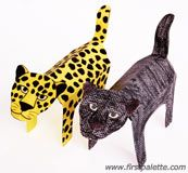 Folding paper leopard and panther