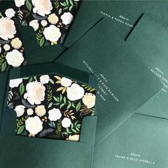 Woodland Green Envelopes with white ink printed address and Blooming Lovely floral envelope liner – by Australian designer State of Elliott Inexpensive Wedding Invitations, Country Wedding Invitations, Wedding Invitation Design, Invitation Envelopes, Diy Invitations, Invitation Ideas, Nordic Wedding, Elegant Wedding, Rustic Wedding