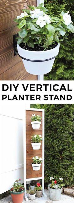 How to build a DIY vertical planter stand. Pretty backyard decor idea for a vertical garden or herb garden. This wooden planter provides backyard privacy as a fence alternative.