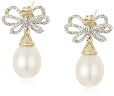 10k Yellow Gold Freshwater Cultured Pearl and Diamond Bow Earrings 29 cttw IJ Color I2I3 Clarity *** To view further for this item, visit the image link.