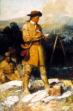 George Washington as a young surveyor in western Virginia, Virginia Polytechnic Institute State University- my dad had this picture in his office - he was a land surveyor American Presidents, Us Presidents, Military Art, Military History, Us History, American History, Land Surveyors, Historia Universal, Special Forces