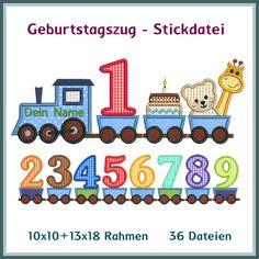 Geburtstagszug Applikation Stickdatei