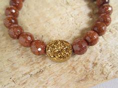 Gold Druzy Bracelet Druzy Quartz Sandstone Beaded Stretch