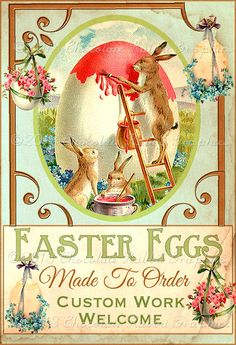 Vintage Style Easter Egg and Rabbit Gift Label by chocolaterabbit