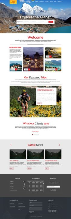 Travel and Trekking Website Template : The Logo is a clean and modern Travel and #Trekking UI template (Homepage) perfect for the jewelry business. The #template is designed on top of #bootstrap grid to ensure a responsive experience. #traveltemplate