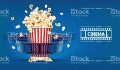 Popcorn for movie theater and cinema reel on blue background royalty-free stock vector art