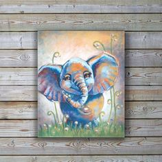 Our happy elephant is a great whimsical addition for any kids room or nursery! Original Acrylic Painting printed on canvas. Printed on satin finish canvas, hand stretched and ready to hang. You may wi Elephant Canvas Art, Canvas Wall Art, Artist Painting, Painting & Drawing, Happy Elephant, Animal Paintings, Small Paintings, Painting Inspiration, Watercolor Art
