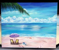 Painting Sea Scapes The Beach 61 Ideas For 2019 Star Painting, Figure Painting, House Painting, Pictures To Paint, Painting Pictures, Beach Drawing, Creative Crafts, Kids Crafts, Canvas Quotes