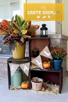 Create a crate display to showcase fall decor on your front porch or in front of your fireplace.