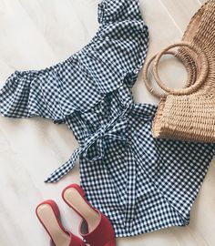 Weekend picnic...gingham romper with red mules