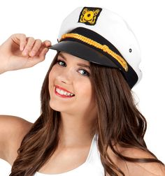 These cute adjustable captain hats feature a plastic bill, gold rope trim, an anchor embroidered on the front, and front padding to hold the hat up. Sold in a pack of 24 hats. Captain Cap, Marine Officer, Dance Outfits, You Look, Dance Wear, Caps Hats, Sailor, Fitness, Cute