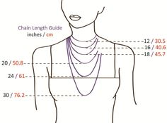 Necklace Size Length Guide in both cm and inch. Good to know when shopping online.
