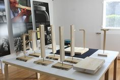 Creating the L-leg as presented in the exhibition Stool 60 by Alvar Aalto at Ungers Archiv für Architekturwissenschaft Cologne