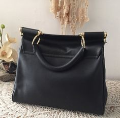 Elegant black satchel, Soft natural black leather handbag, Women leather purse, Classic design, Gift for her, Bolso cuero, Sac à main
