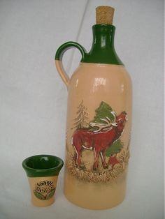 kerkolby / fľaša s pohárikmi - poľovnícky motív