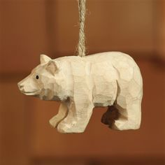 carved christmas ornament | Carved Wood Ornament - Bear (Set/4)