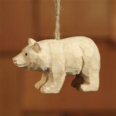 Carved Wood Ornament - Bear (set/4)