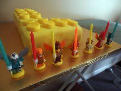Lego Brick Cake with Chima candle holders!