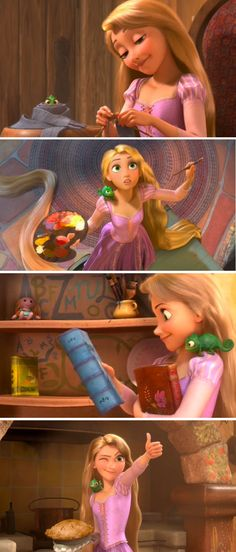 Rapunzel is probably my favorite princess - She paints and sews and bakes and cooks like me! I relate to her lots. :)