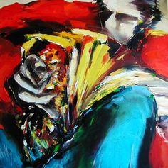 accordéon - Peinture,  100x100 cm ©2000 par Christian Vey -