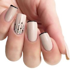 Classic beige nails with thin black french and embellished lined accent nail. Matte Nails Glitter, Nude Nails, Manicure And Pedicure, Acrylic Nails, Beige Nails, Hair And Nails, My Nails, Latest Nail Art, Beautiful Nail Art