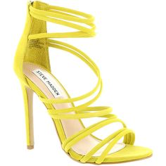 Steve Madden Santi Women's Yellow Sandal 10 M ($100) ❤ liked on Polyvore featuring shoes, sandals, yellow, high heel sandals, stiletto sandals, steve madden sandals, suede sandals and high heel shoes