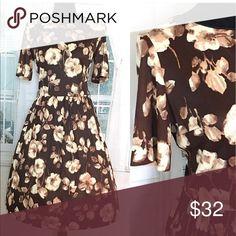 Vintage BOHEMIAN DRESS Vintage Brown Floral Secretary Swing BOHO like Dress. 👌🏽🌟❤️ _______________________________  Size: Med/Large BUST: up to 38' Waist: 29-31 Length: 40'Top-bottom  _______________________________ Vintage Dresses