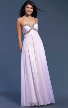 Pink Empire,Sheath/Column One Shoulder Empire Long/Floor-length Sleeveless Beading Chiffon Zipper Up Prom Dresses Dress