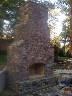 outdoor fireplace during construction