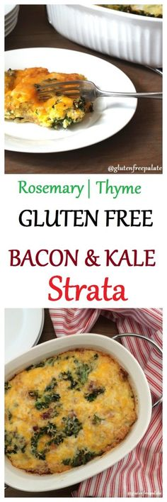 This gluten-free bacon and kale strata by Gluten-Free Palate is the perfect dish to enjoy for breakfast or brunch.