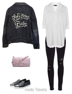 """""""Untitled #134"""" by axelleteixeira ❤ liked on Polyvore featuring Frame Denim, Topshop, Miu Miu and Chanel"""