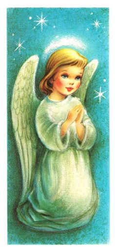Pretty Little Angel Vintage Christmas Card by PaperPrizes on Etsy