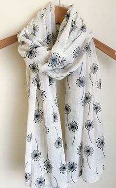 LOVELY SOFT IVORY CREAM WITH BLACK DANDELION FLORAL PRINT LADIES SCARF WRAP SS16