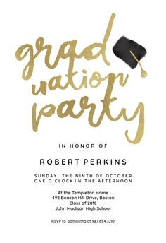 Hats Off Free Graduation Party Invitation Template Greetings Island