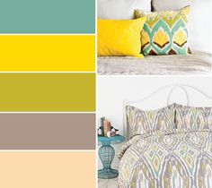 Teal yellow gray bedroom